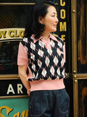 Argyle Pullover Summer Knit(Ladies Free) 【SVY-KN041】 / Savoy Clothing