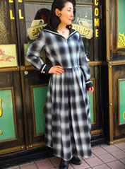 Double Cuffs Sailor Long One-piece (Cotton Ombre check)【SVY-OP110】 / Savoy Clothing